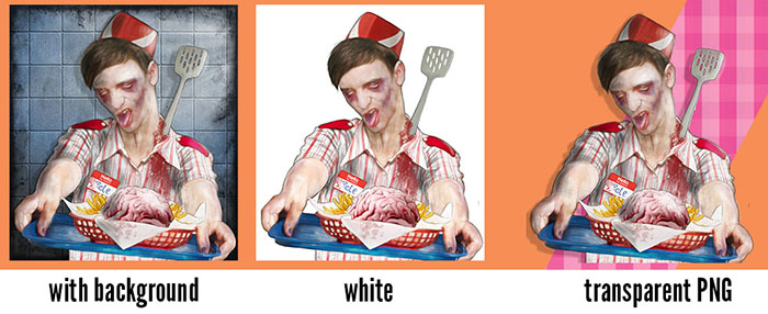 3 examples of using Pete the zombie of the fast food
