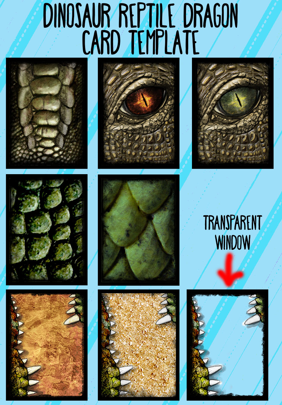 Dinosaur_Reptile_Dragon_cards_template_set