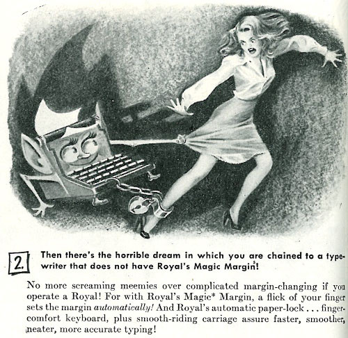 chained to a typewriter to write ebook fantasy