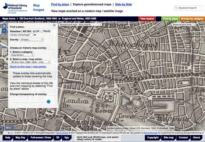 National Library of Scotland - Mappe della Londra Vittoriana, come orientarsi per le strade